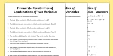 Year 6 Enumerate Possibilities of Combinations of Two Variables Activity Sheet Pack