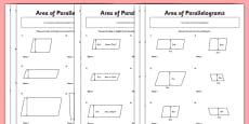 Area of Parallelograms Activity Sheet Pack