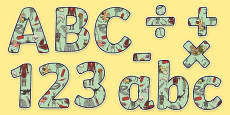 Animals Including Humans Themed Display Letters and Numbers Pack