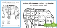 Colour by Number Counting Sheet to Support Teaching on Elmer