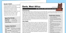 Benin West Africa History Fact Sheet for Adults
