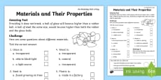 Materials and Their Properties Activity Sheet