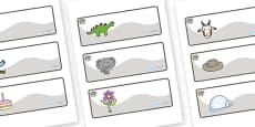 Elephant Themed Editable Drawer-Peg-Name Labels