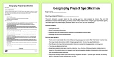 Geography   Country  Project Specification Checklist