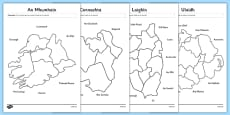 Irish Provinces and Counties of Ireland Matching Activity Sheets Gaeilge