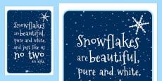 Snowflake Poem Display Poster