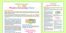Year 1 Phonics Screening Check: A Guide for Parents