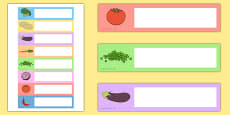 Vegetable-Themed Editable Gratnells Tray Labels