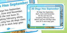 30 Days Has September Nursery Rhyme Poster