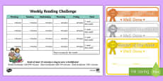 Reading Challenge Weekly Calendar