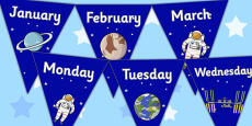 Space Themed Days and Months Bunting