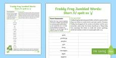 Short /i/ spelt as 'y' Freddy Frog Jumbled Words Activity Sheet