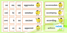 PlanIt English Additional Resources Y5/Y6 Statutory Spelling Word Cards