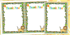 Jungle Themed Birthday Party Thank You Cards