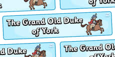 The Grand Old Duke of York Display Banner (Simple)
