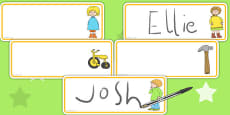 Editable Drawer Peg Name Labels to Support Teaching on Titch