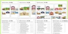 Places in Town Differentiated Reading Comprehension Activity French