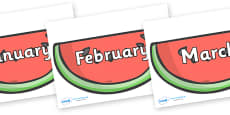 Months of the Year on Watermelons to Support Teaching on The Very Hungry Caterpillar