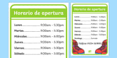 Shoe Shop Role Play Opening Times Spanish