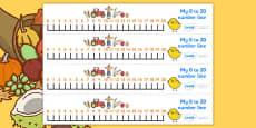 Harvest Number Line (0-20)