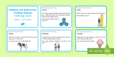 Addition and Subtraction Problem Solving Challenge Cards 4