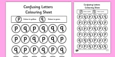 Confusing Letters Colouring Activity Sheets P and Q