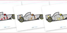 Ordinal Number Posters (Racing Car)