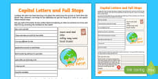 Capital Letters and Full Stops Practice Sheet