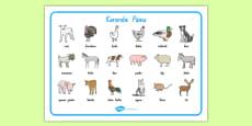 Farm Animals Word Mat Te Reo Māori