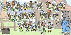 Display Lettering to Support Teaching on What's The Time, Mr Wolf?