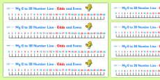 0-30 Number Line (odds and evens)