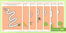 Pencil Control Path Activity Sheets to Support Teaching on The Crunching Munching Caterpillar