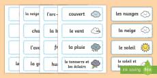 Cartes de vocabulaire : La météo