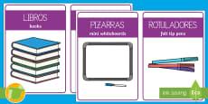 Etiquetas bilingues: El material de la clase