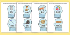 Matching Rhyming Words and Pictures on Mittens
