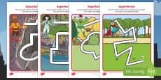 * NEW * Superheroes Pencil Control Path Activity Sheets
