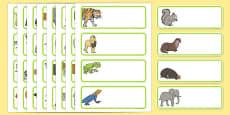 Animal Themed Drawer Peg Name Labels Editable