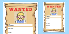 Goldilocks Wanted Poster Writing Frames