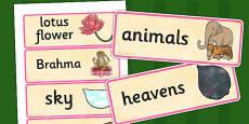 Hindu Creation Story Word Cards