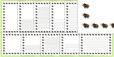 Wooly Mammoth Portrait Page Borders