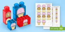 Ice Cream Scoops Numbers to 10 Connecting Bricks Game