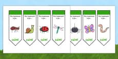 Editable Minibeast Bookmarks