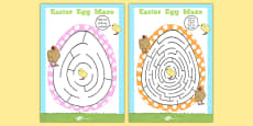 Easter Egg Shaped Maze Activity Sheet Pack