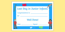 Last Day in Junior Infants Award Certificate