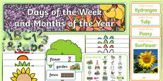 Garden Themed Days of the Week and Months of the Year Display Pack
