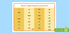 Phase 2 High Frequency Word Mat