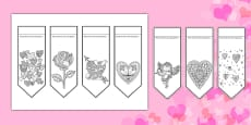 Valentine's Mindfulness Colouring Bookmarks Romanian
