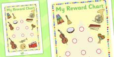 Music Themed Sticker Reward Chart 15mm