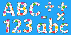 Multicoloured Polka Dot Display Lettering