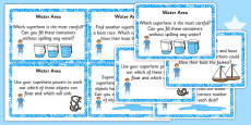EYFS Superhero Themed Water Area Challenge Cards